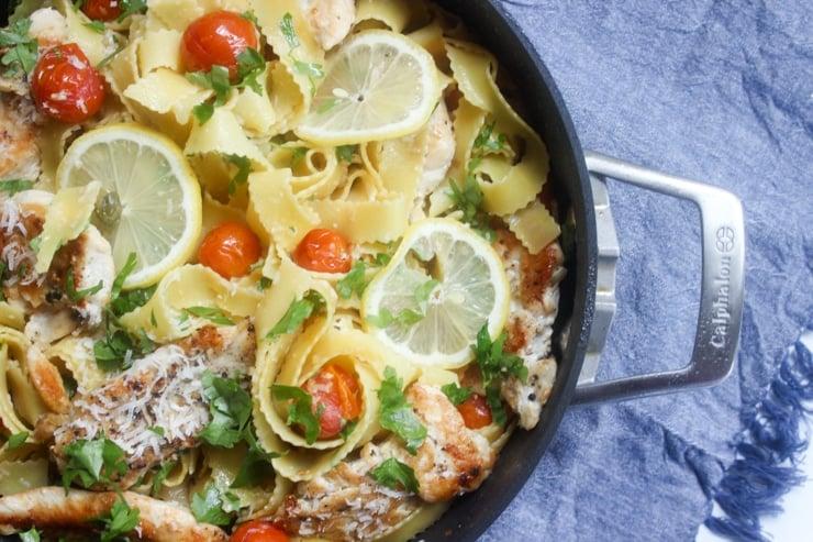 closeup of chicken piccata pasta