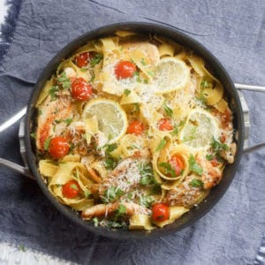 chicken piccata pasta in a white wine sauce in a calphalon space saving pan set
