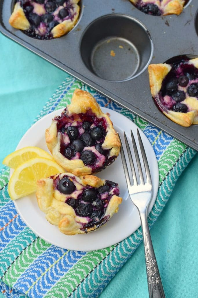 Baked Blueberry Cheesecake Tarts from puff pastry dough