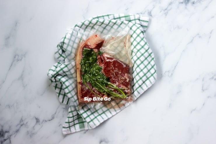 vacuum sealed t bone steak