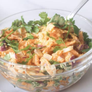 blue cheese slaw in a kitchen