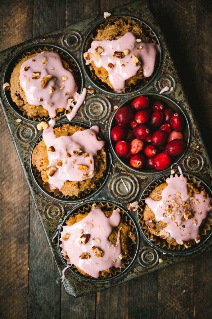 apple muffin recipe on a breakfast table