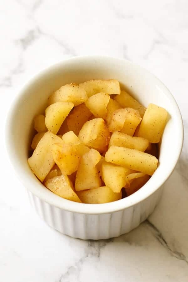 baked apples in a bowl