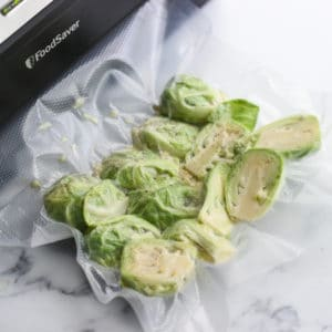 vacuum sealing sous vide Brussels sprouts