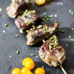 sous vide beef kebabs with fresh herbs