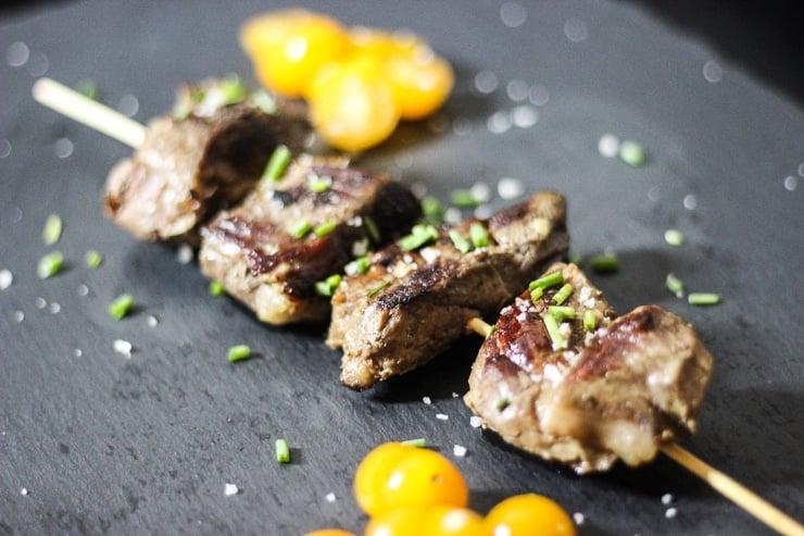 sous vide steak kebabs on wooden kebab sticks