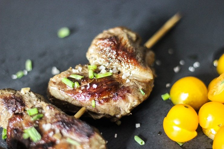 sous vide beef kebabs on a wooden skewer