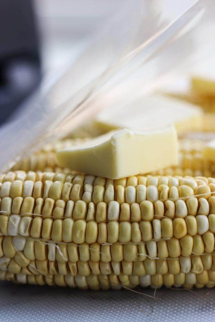 butter on corn in sous vide bag