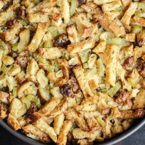 chorizo sausage stuffing in a large serving pan
