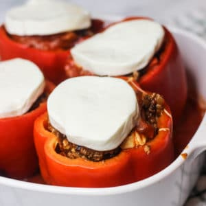Cheesy Italian Stuffed Peppers in a Baking Dish