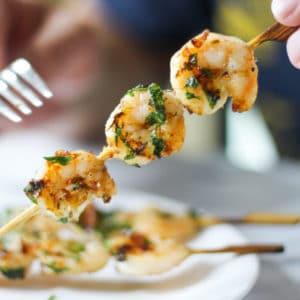 fork with sous vide shrimp