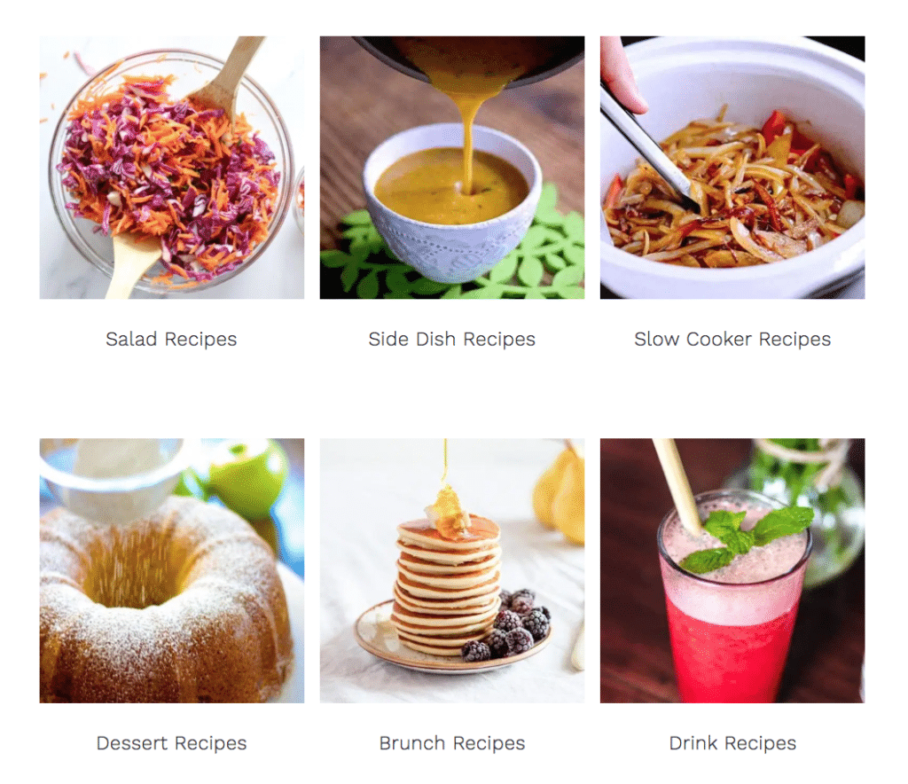 example of food blogger recipe posts on a monetized food blog