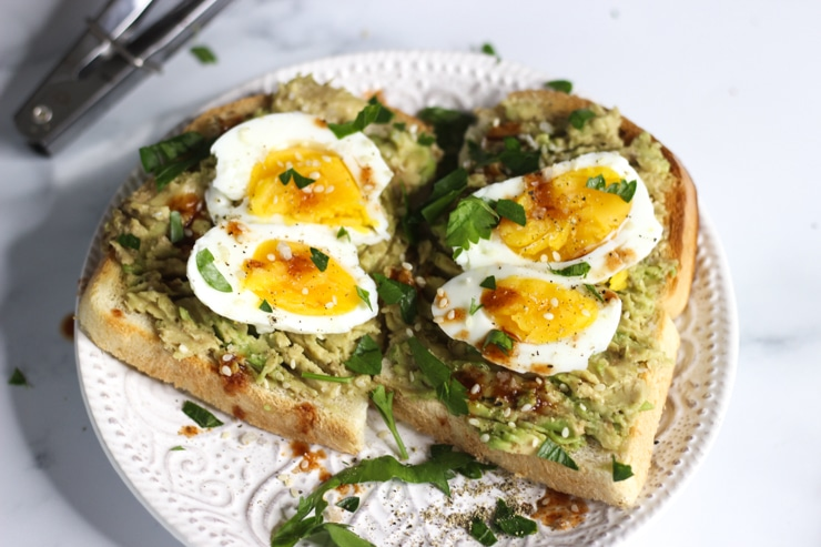 sous vide breakfast soft poached eggs on avocado toast