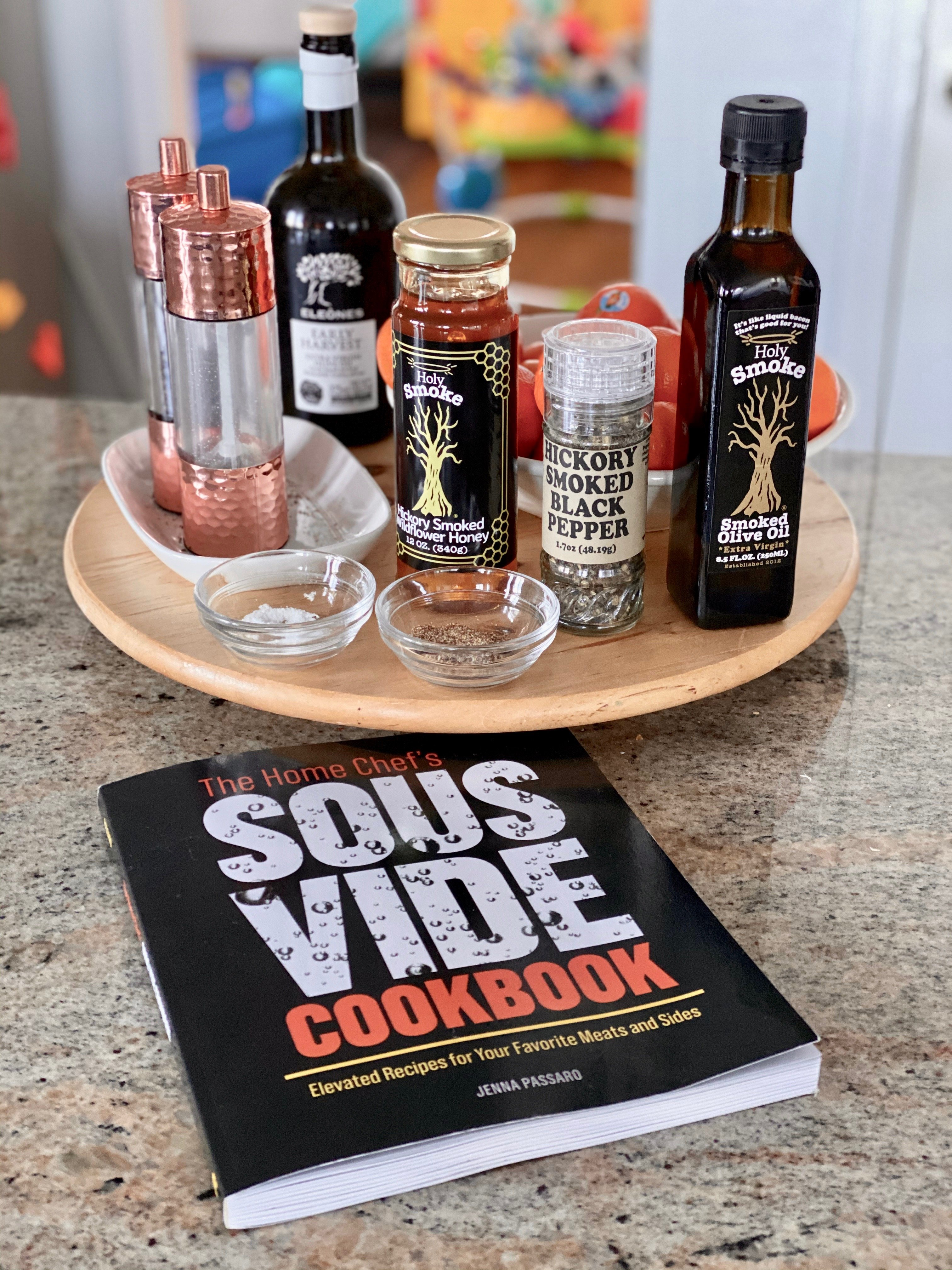 sous vide condiments including holy smoke olive oil with the March 2020 giveaway featuring Holy Smoke Olive Oil and The Home Chef's Sous Vide Cookbook