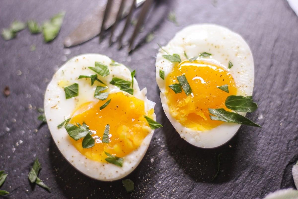 sous vide soft boiled egg cut in half