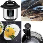 Instant Pot Sous Vide Machines the Duo and Slim with eggs and beef