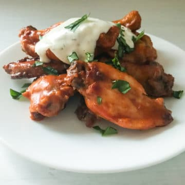 buffalo chicken sous vide wings cooked at a temperature of 145