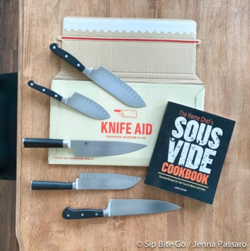 knife aid sharpening by mail package and a copy of The Home Chef's Sous Vide Cookbook