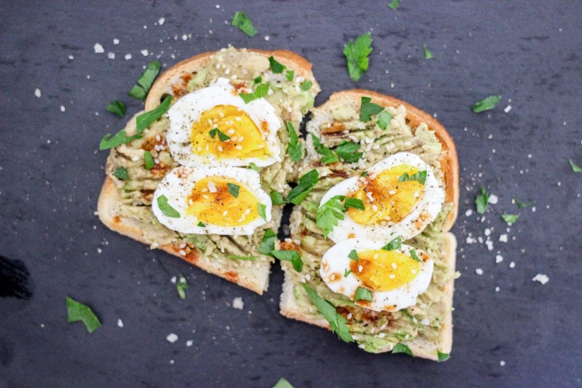 sous vide eggs on avocado toast
