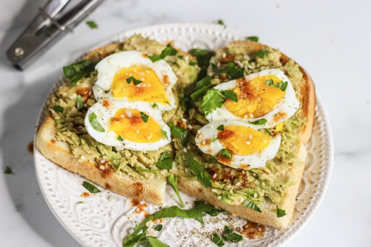 avocado toast with egg sous vide cooked