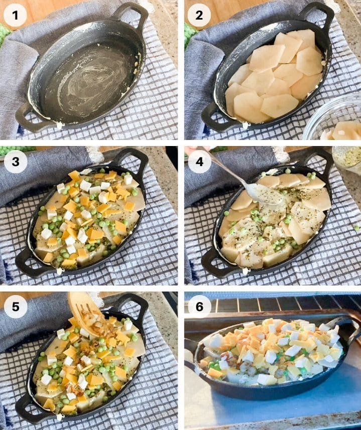 How to make potatoes Gratin With Pesto And Peas step by step