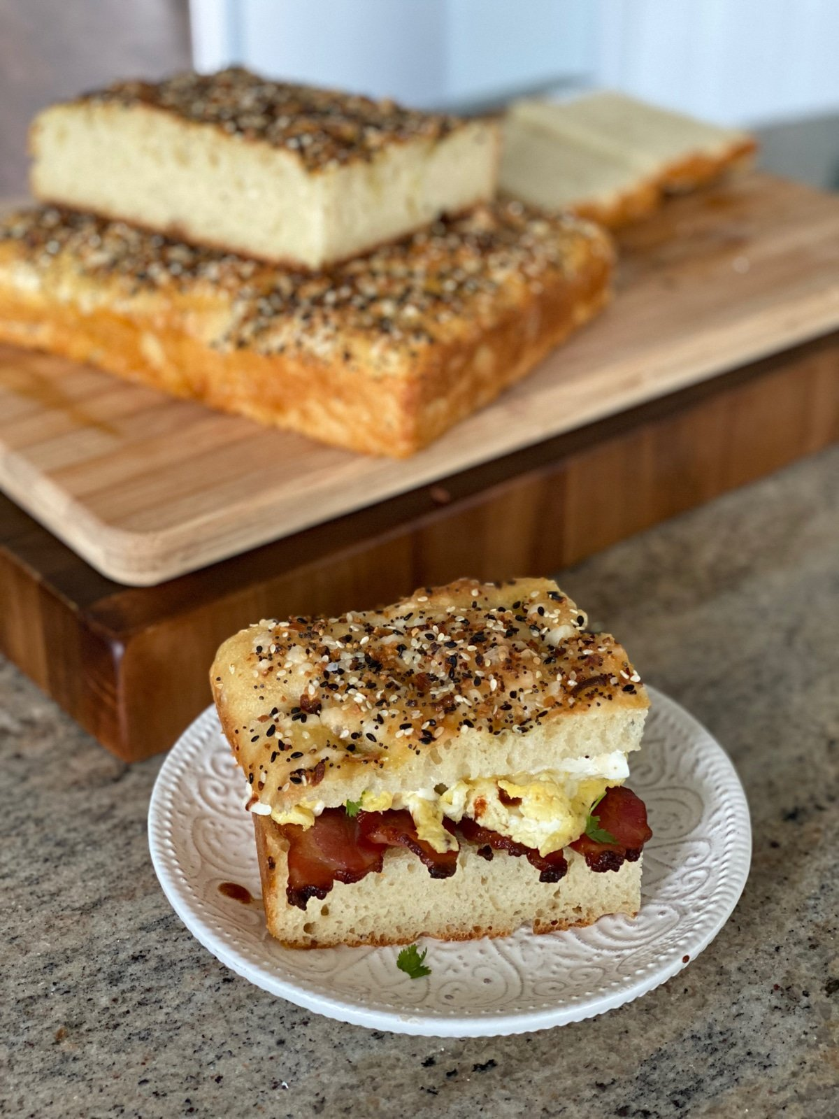 Homemade focaccia brunch sandwich