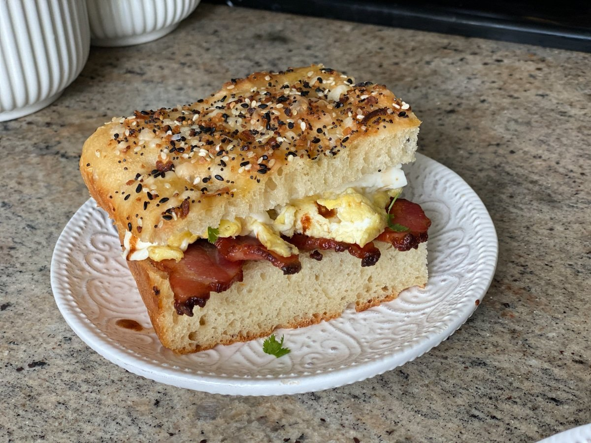 bacon and egg sandwich on focaccia