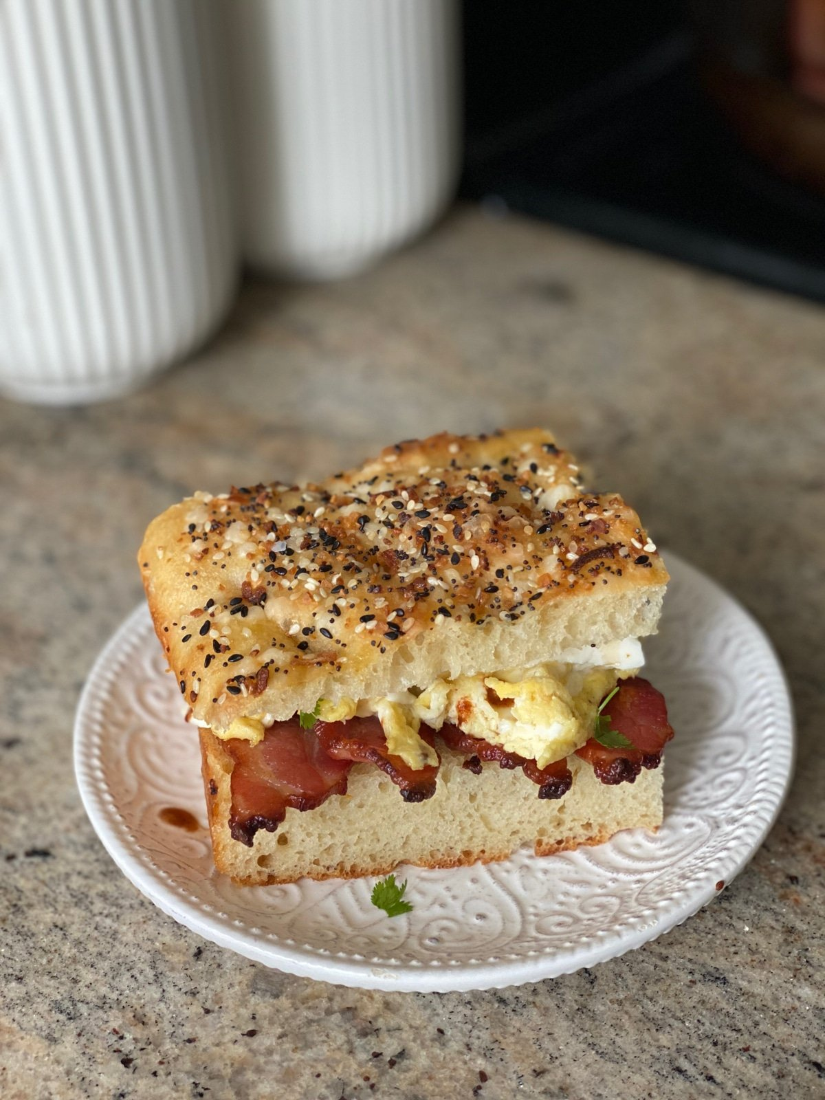 Gourmet bacon and egg sandwich on focaccia
