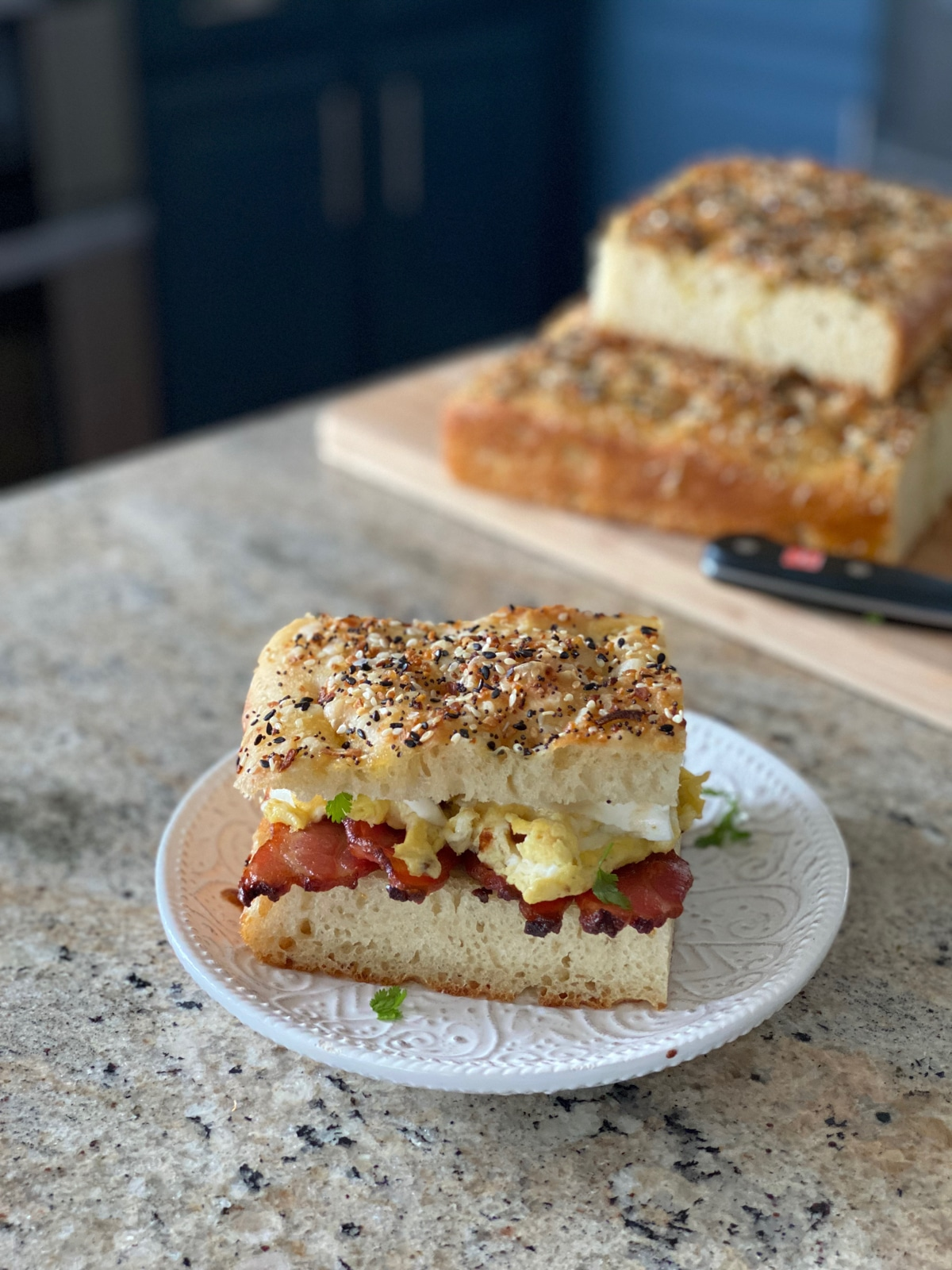 Focaccia brunch sandwich idea with bacon egg and mozzarella