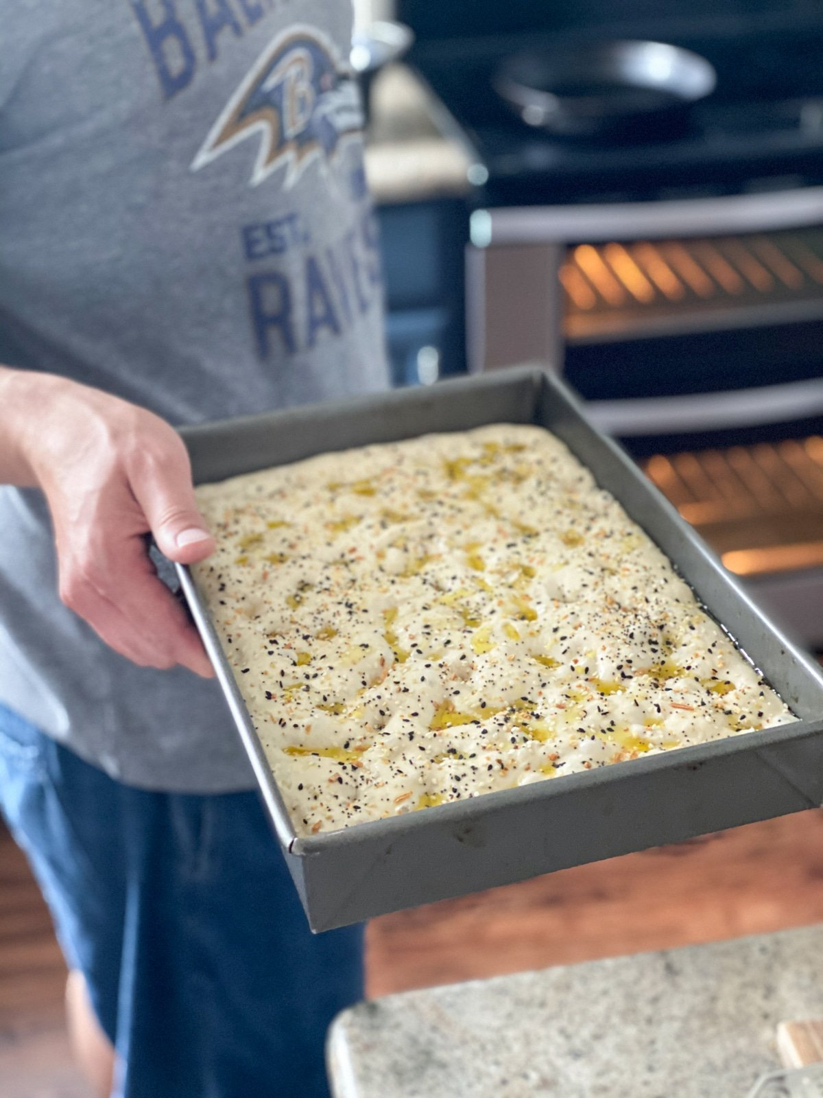 Baking focaccia bread with seeds