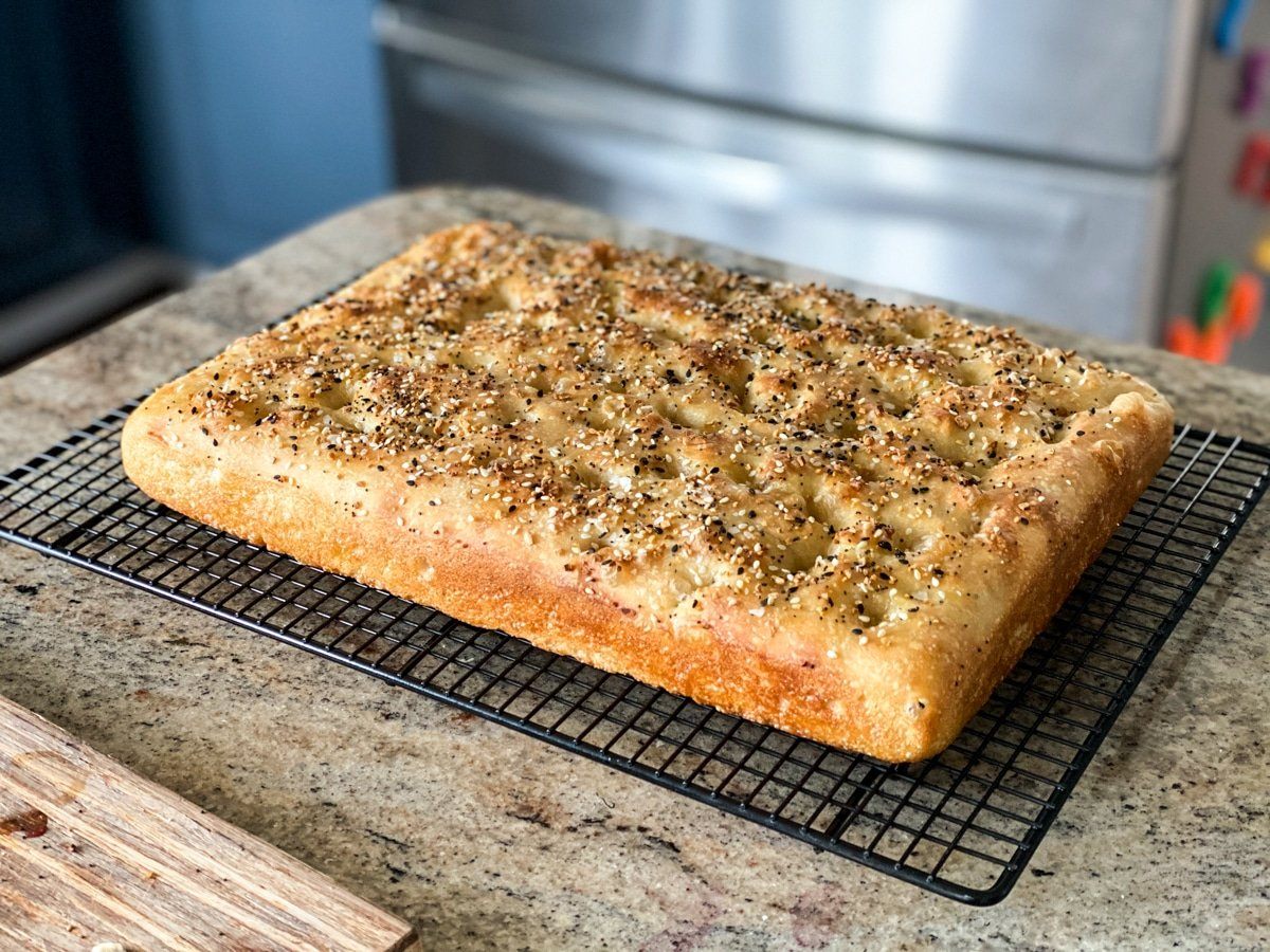 Everything Focaccia Bread topped with bagel seasoning