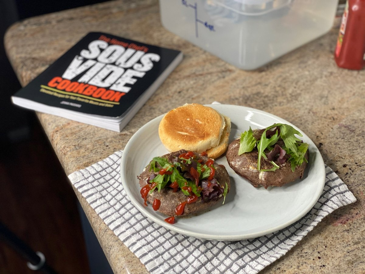 sous vide burgers with beef patties made from scratch and The Home Chef's Sous Vide Cookbook
