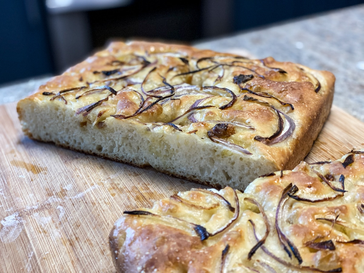 focaccia topped with red onion