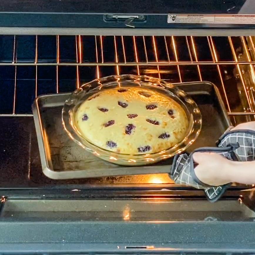 Italian lemon olive oil cake in oven