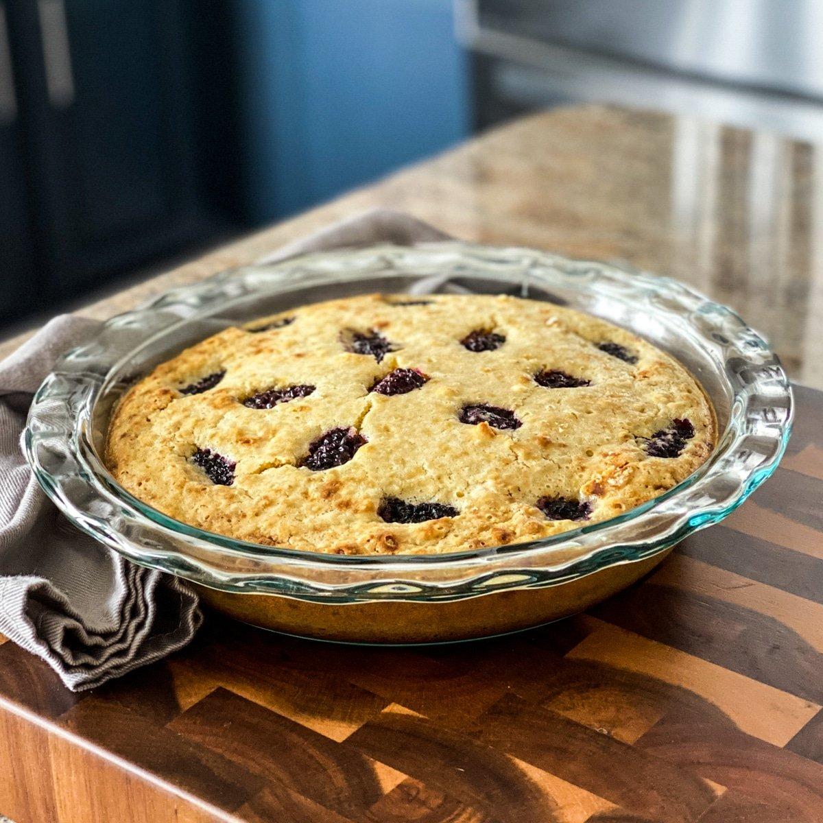 Italian lemon olive oil cake with blackberries