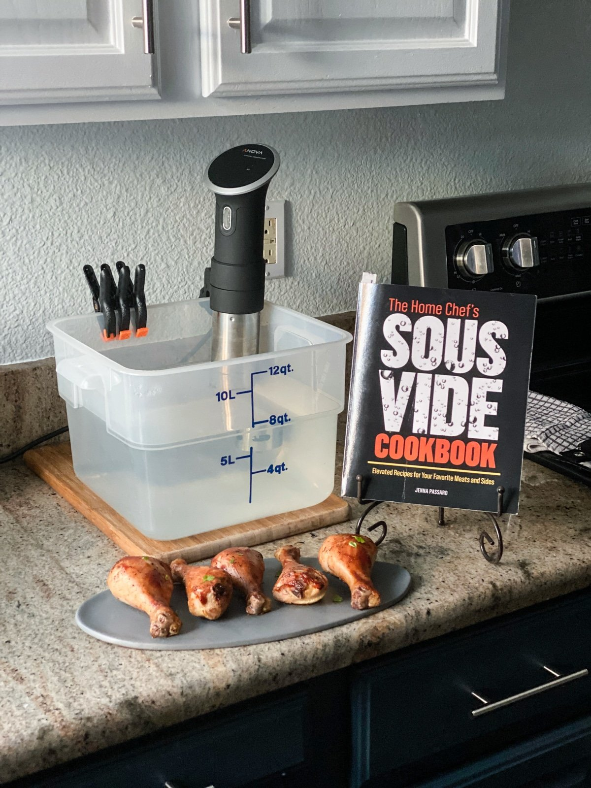 sous vide for beginners setup with Anova sous vide machine and The Home Chef's Sous Vide Cookbook