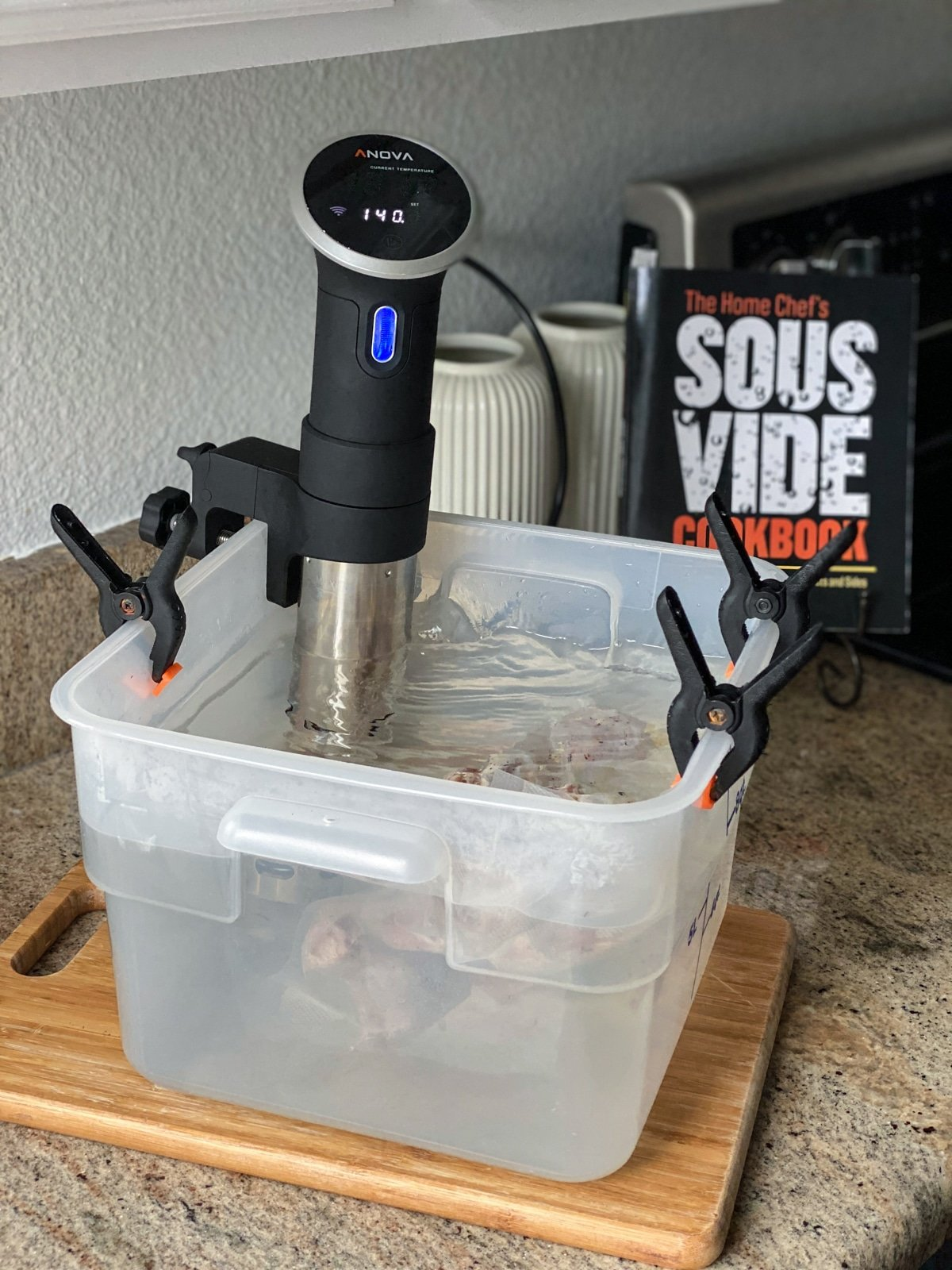 sous viding chicken with Anova sous vide machine