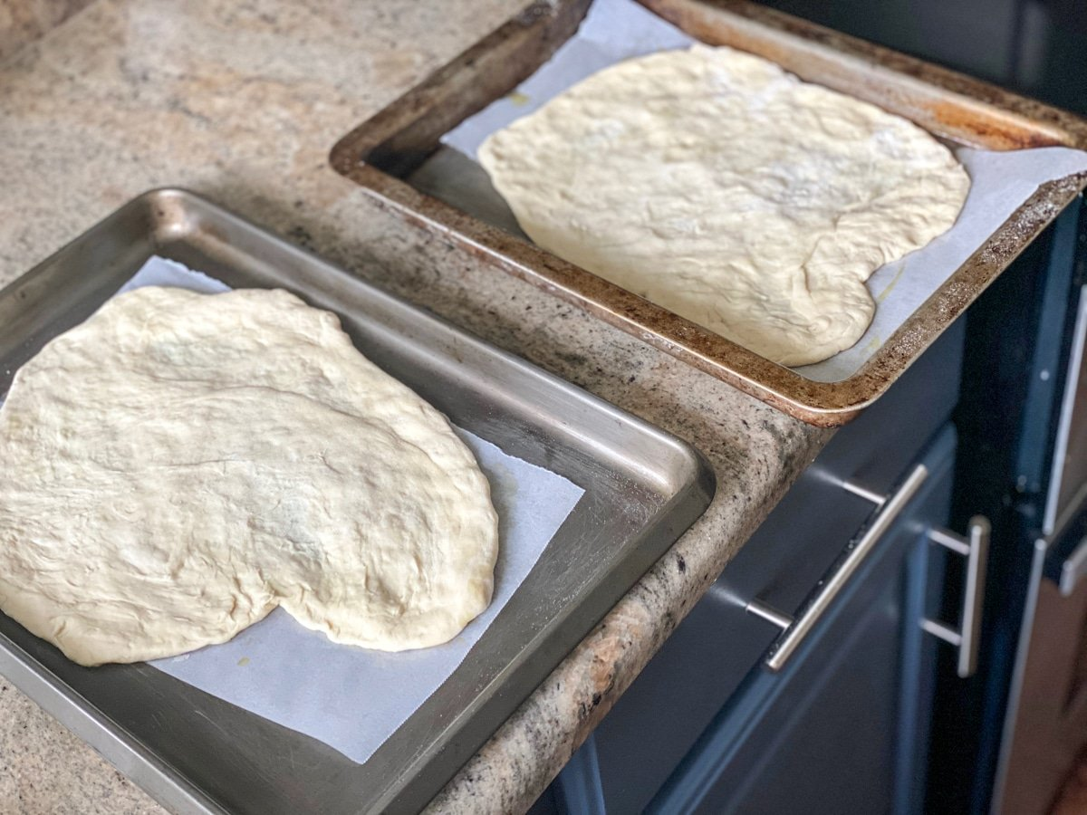 stretched store bought pizza crust dough