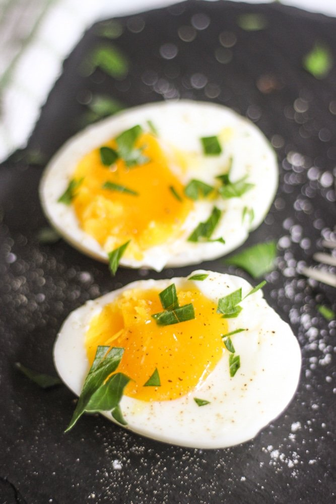 sous vide soft boiled eggs with herbs