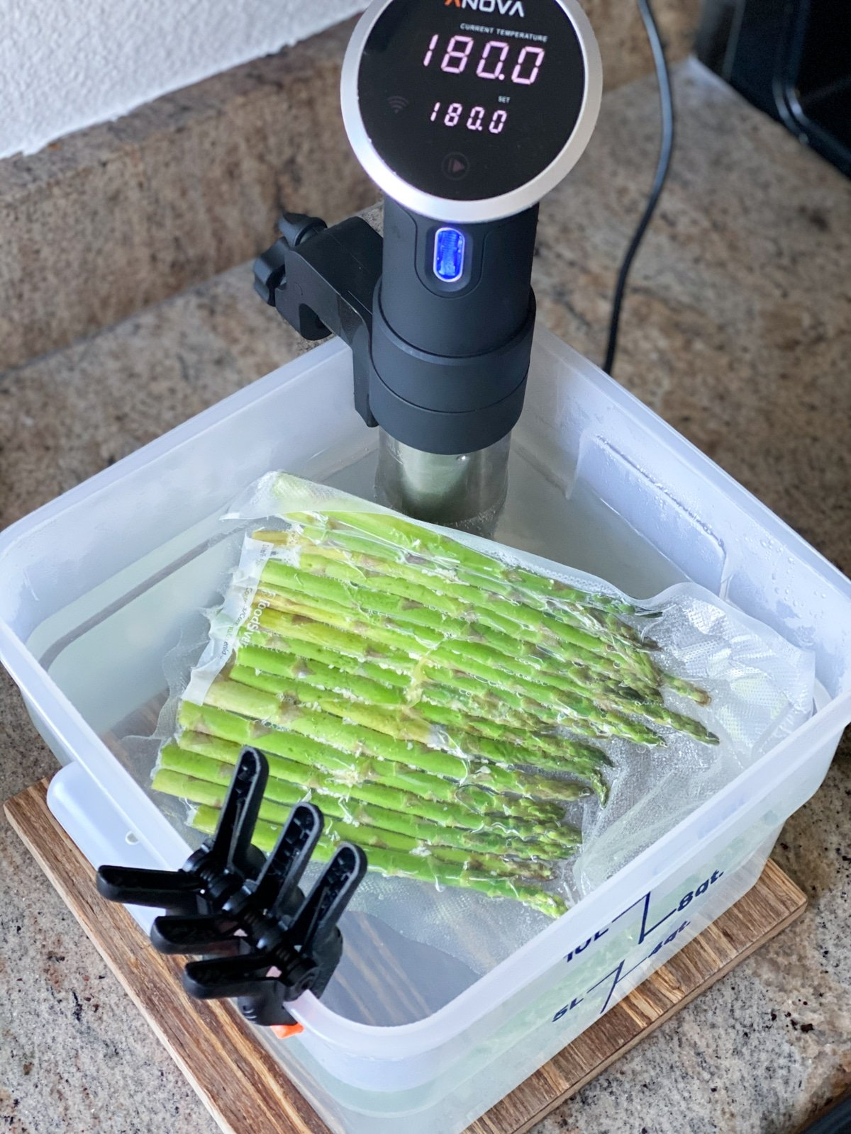anova and sous vide asparagus temperature at 180 F