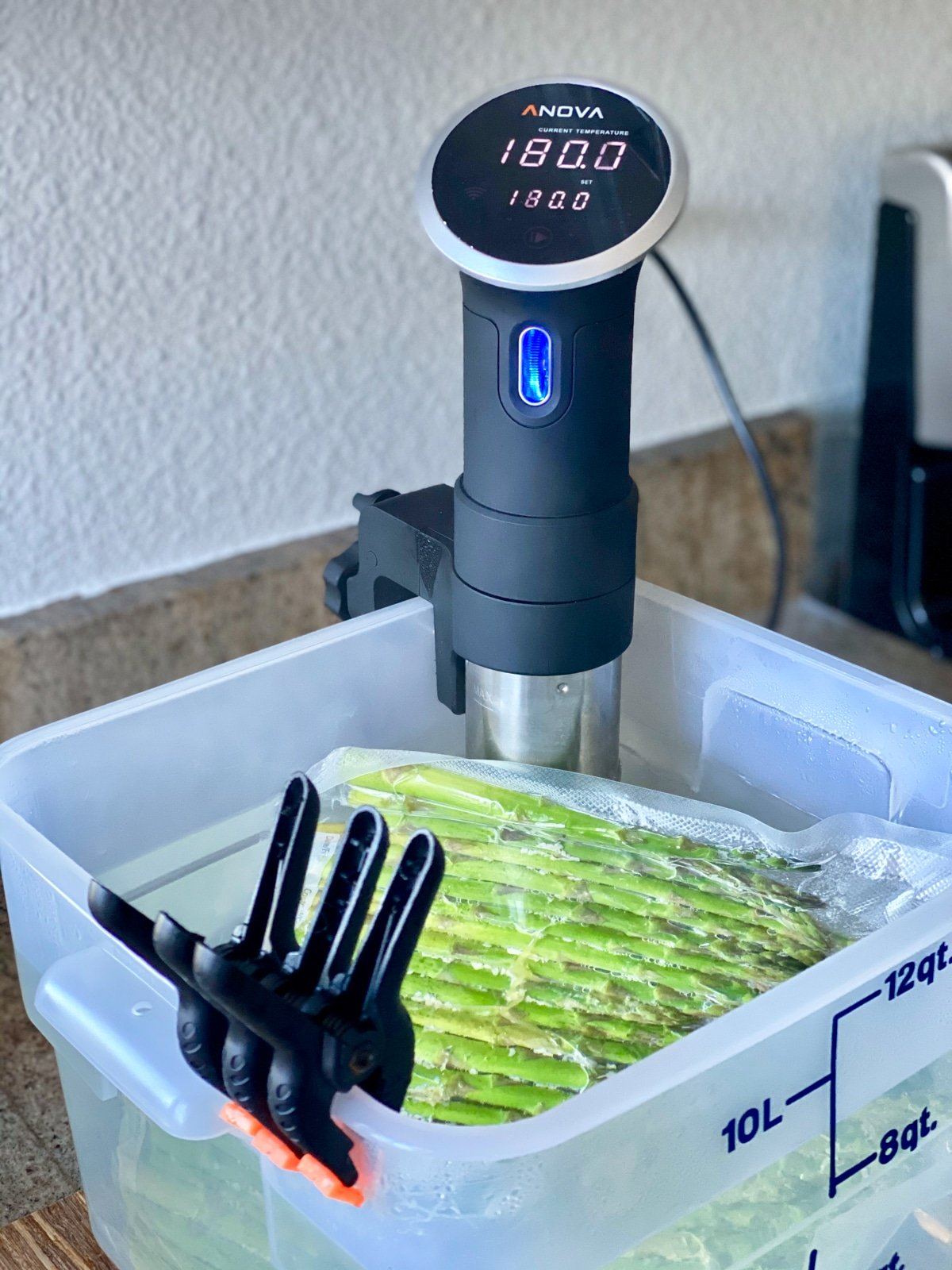 cooking asparagus anova sous vide machine