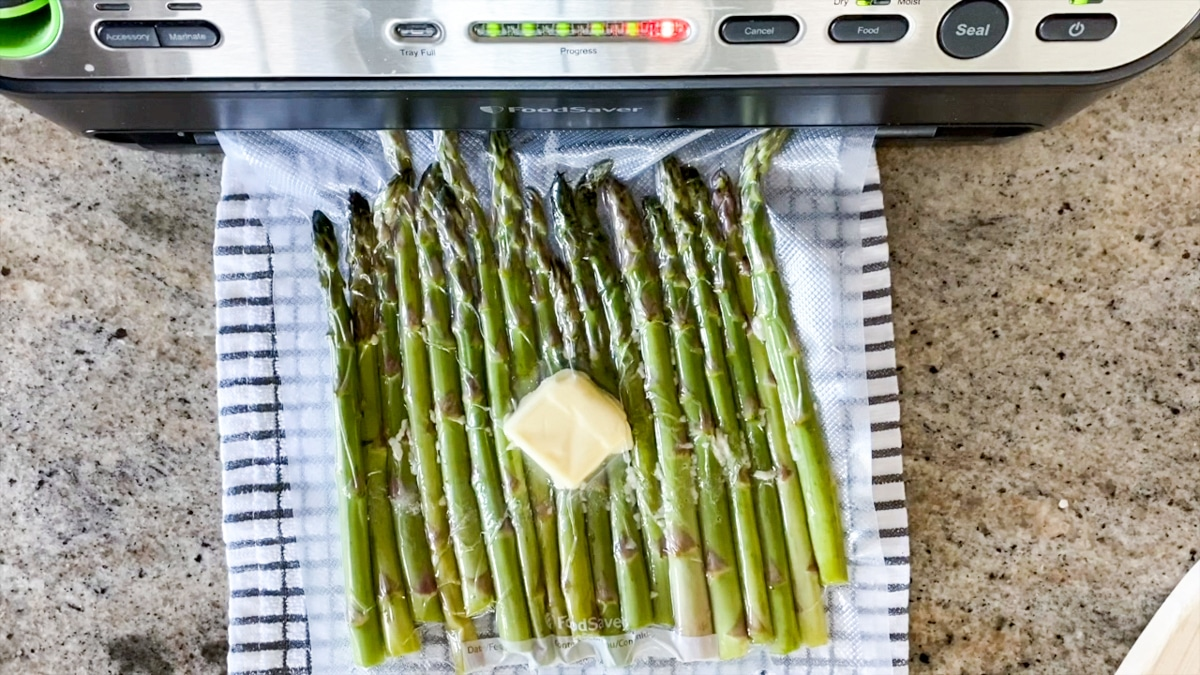 vacuum sealing asparagus with butter