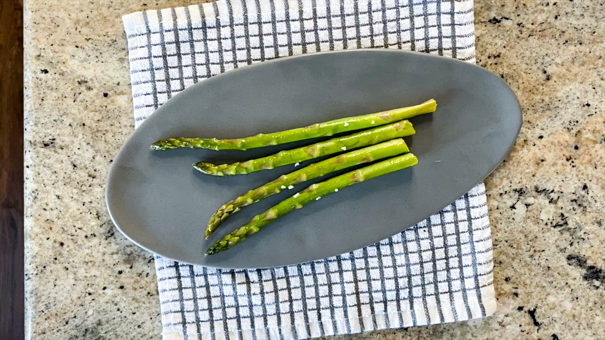 prepping frozen asparagus blanched first