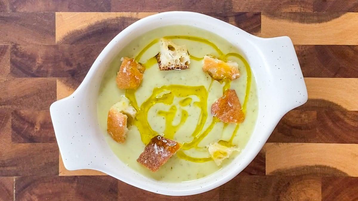 finished make ahead zucchini soup