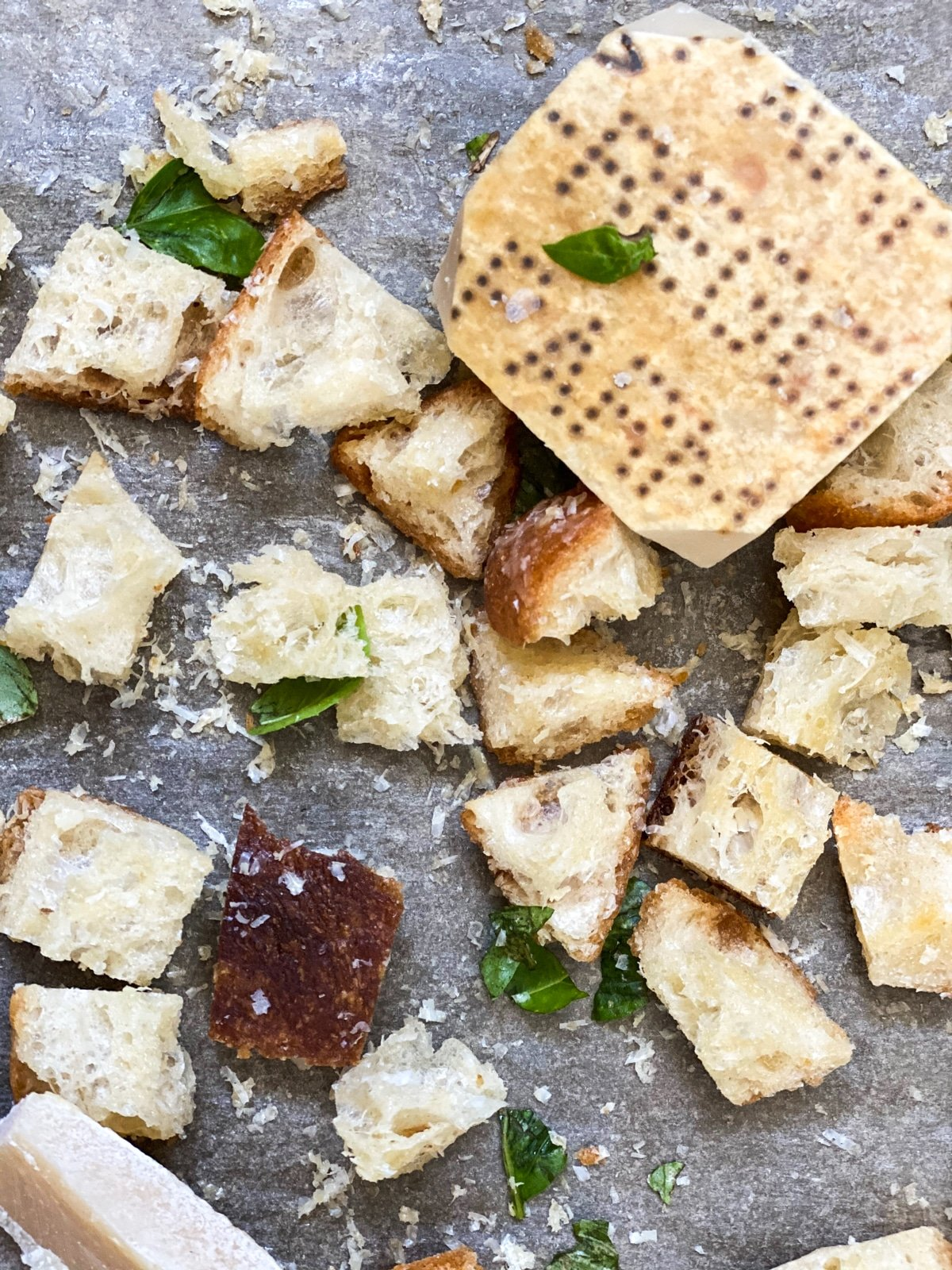 baked croutons and parmesan