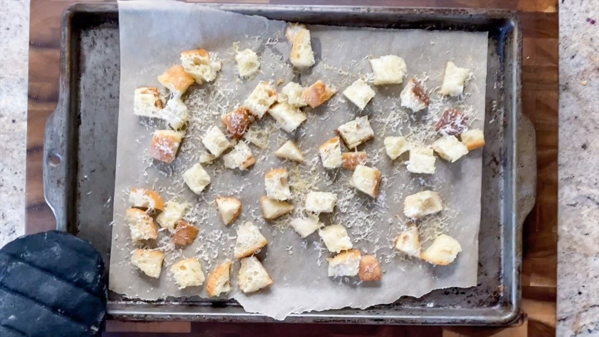 croutons on a baking sheet