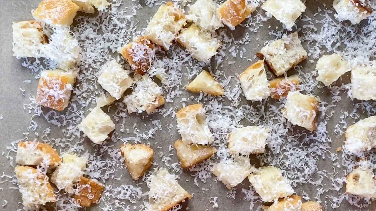 croutons with freshly grated parmesan