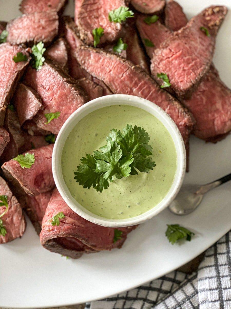 cilantro lime sauce with sous vide steak