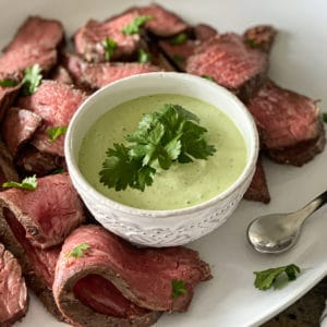 creamy jalapeno ranch sauce with meat