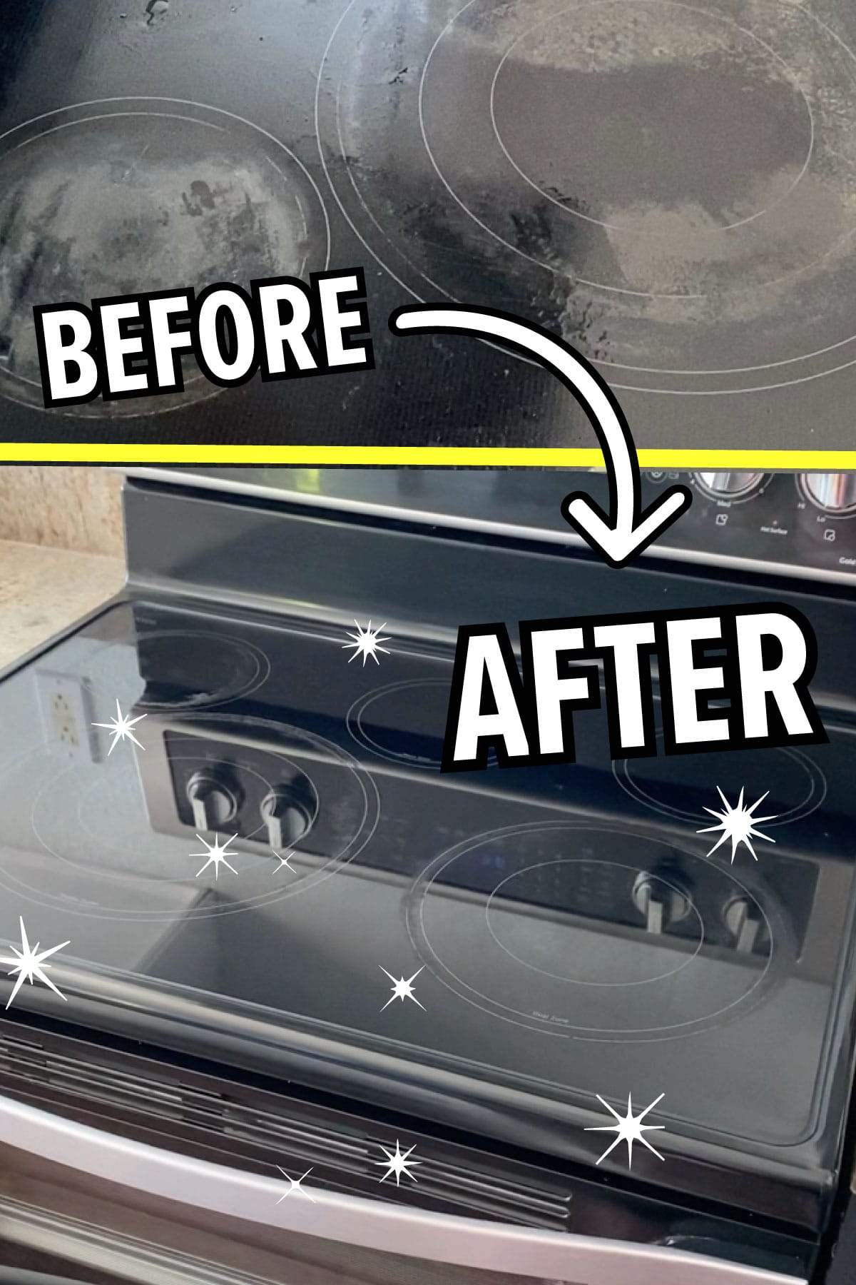 Before and after photos showing dirty then clean flat glass stovetop.